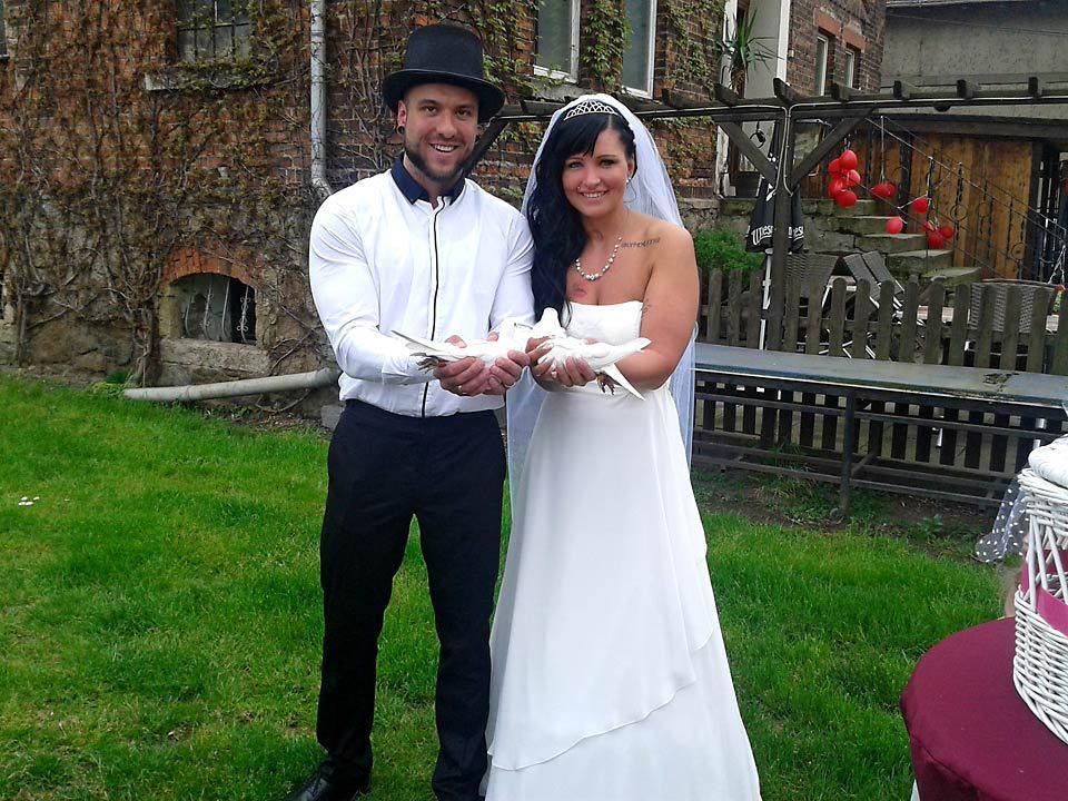 weiße Hochzeitstauben